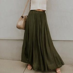 Army Green Maxi Skirt